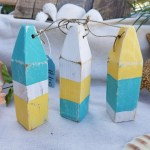 Set Of 3 Recycled Wooden Mini Buoys Perfect For Coastal