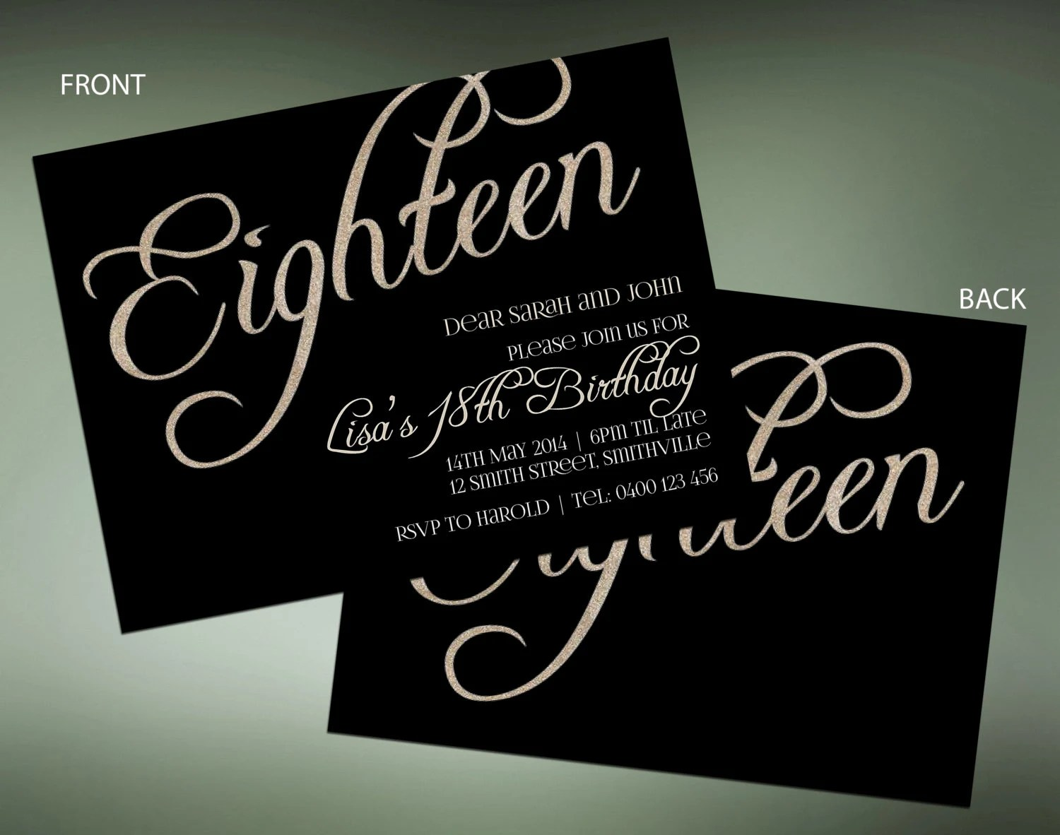 18th Silver Sparkle Birthday Invitations Instant Download