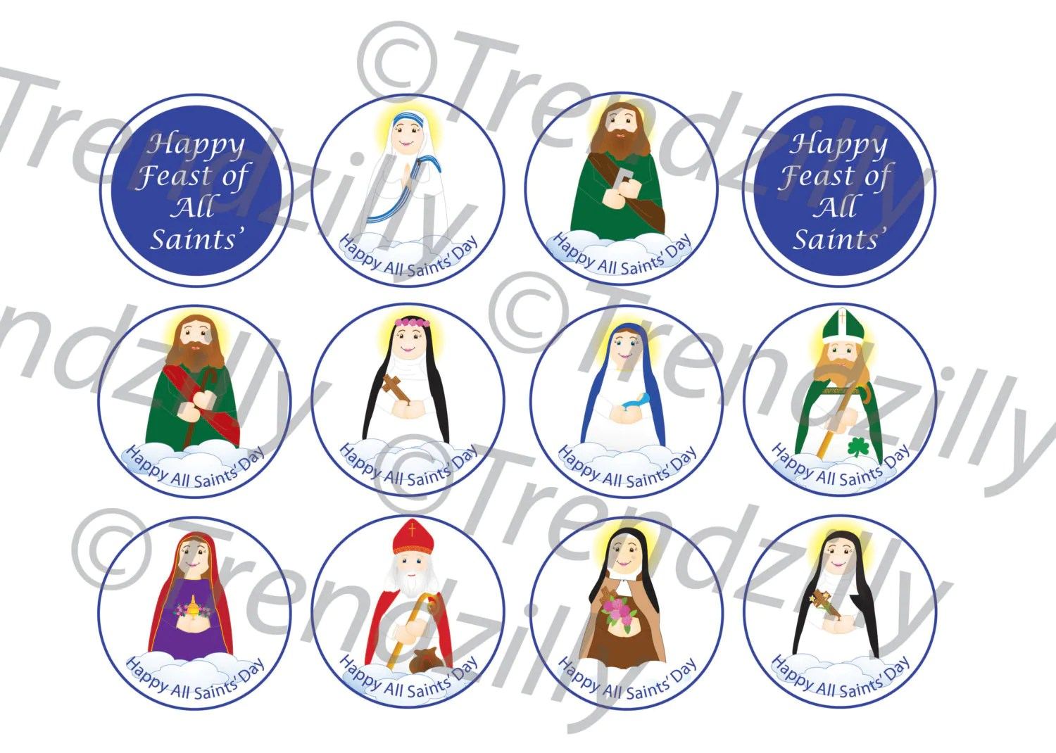 All Saints Day Cupcake Toppers Soft Saints Printable All