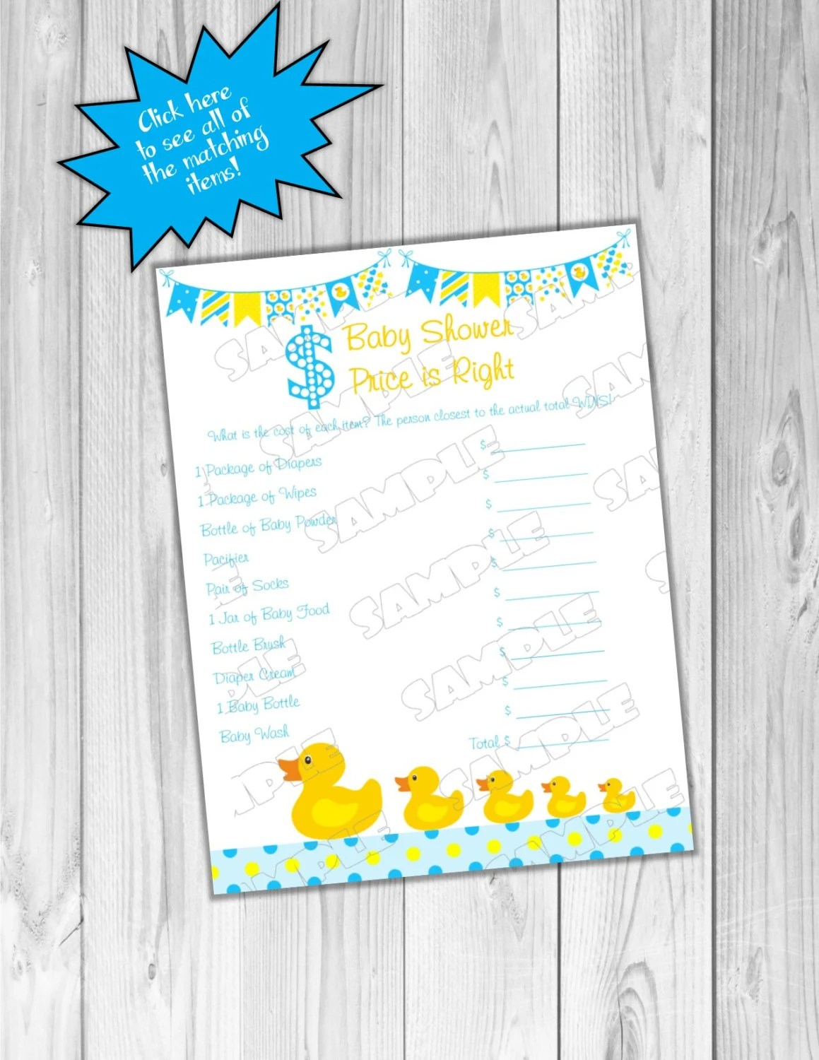 Rubber Duck Price Is Right Game Baby Shower Games