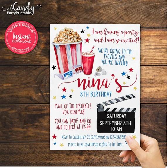 movie night birthday invitation cinema invitation editable and printed by you instant access