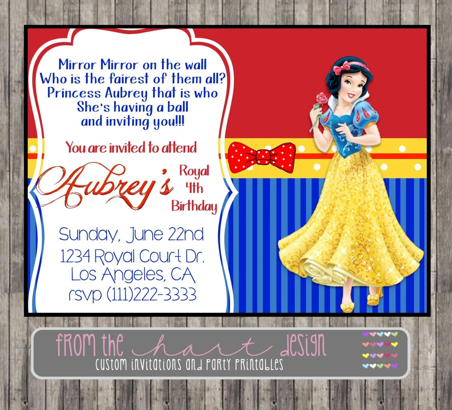 snow white party invitation template