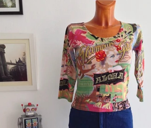 Vintage 90s Top Shirt Quarter Length Sleeves Pop Pin Up Aloha Hawaii Print Size S