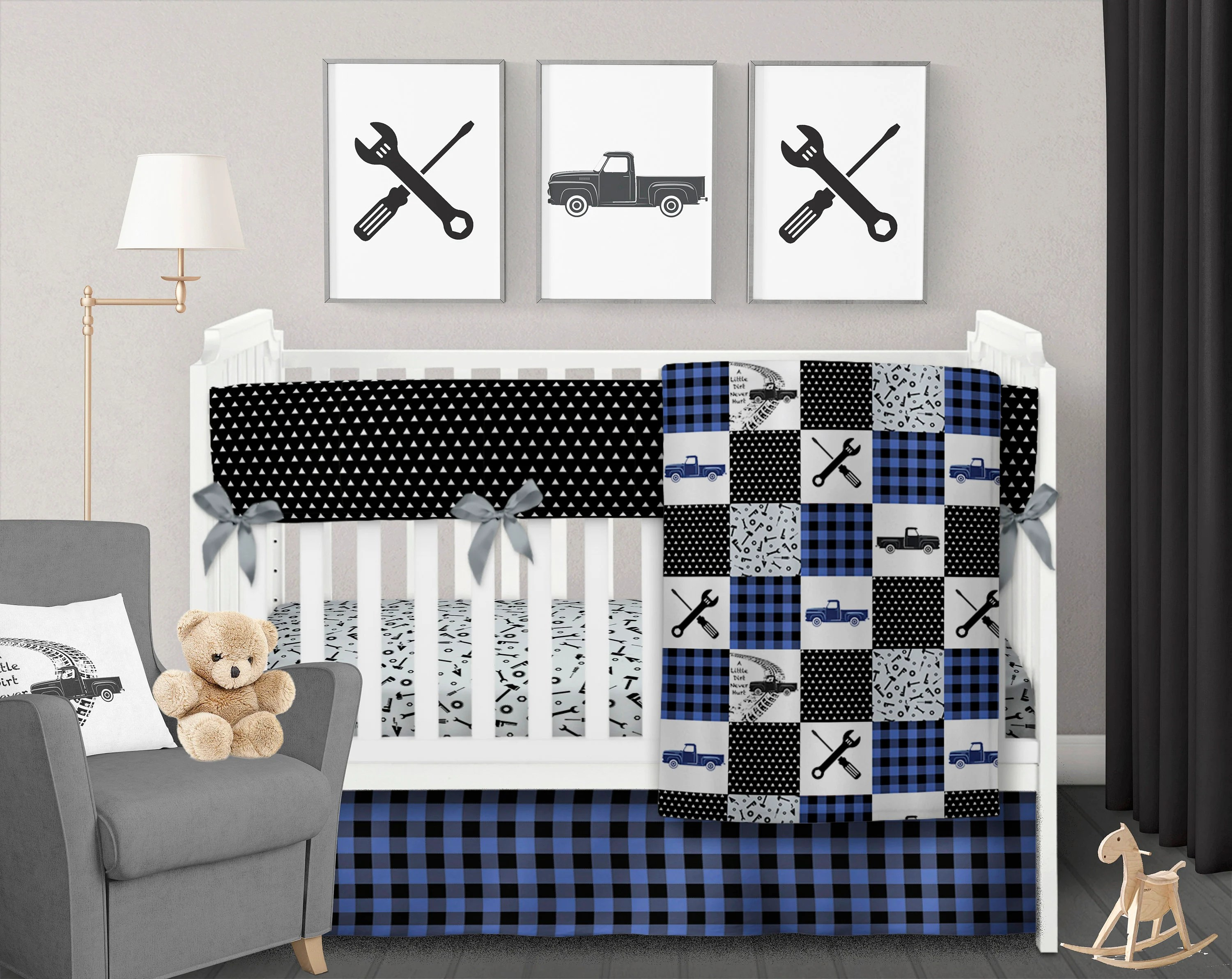 blue crib bedding etsy