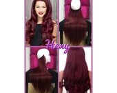 """HALO hair extensions 16"""" #99J Plum Red Wine Flip In Secret Miracle Wire Crown Human Hair or One Piece Clip In Extensions Weave Bespoke Hexy"""