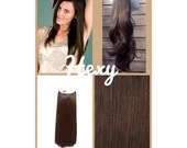 """20"""" long HALO HEXY FLIP in Medium dark choc brown #4 human remy secret magic invisible miracle wire hair extensions headband crown loop aura"""