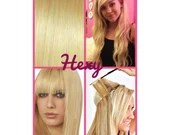 """20"""" long HALO FLIP in HEXY Bleach blonde #613 human remy hidden secret invisible miracle wire hair extensions thick custom made aura circle"""