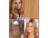 """12"""" long HALO HEXY FLIP in Medium honey blonde #16 human remy secret invisible miracle wire hair extensions custom made magic quad weft aura"""