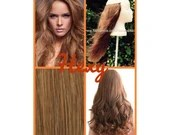 """22"""" long HALO FLIP in HEXY Light honey brown #10 human remy secret invisible miracle wire hair extensions bespoke no clips no damage circle"""