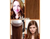 """16"""" long HALO flip in HEXY Light auburn #30 human remy secret invisible miracle wire one piece hair extensions bespoke damage free circle"""