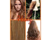 """14"""" long HALO FLIP in HEXY Light honey brown #10 human remy secret invisible miracle wire hair extensions bespoke no clips no damage circle"""