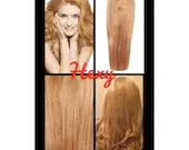 """22"""" long HALO flip in HEXY light Strawberry blonde #27 secret invisible miracle wire one piece human remy hair extensions headband circle"""