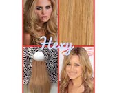 """16"""" long HALO HEXY FLIP in Medium honey blonde #16 human remy secret invisible miracle wire custom made loop circle hair extensions easy fit"""