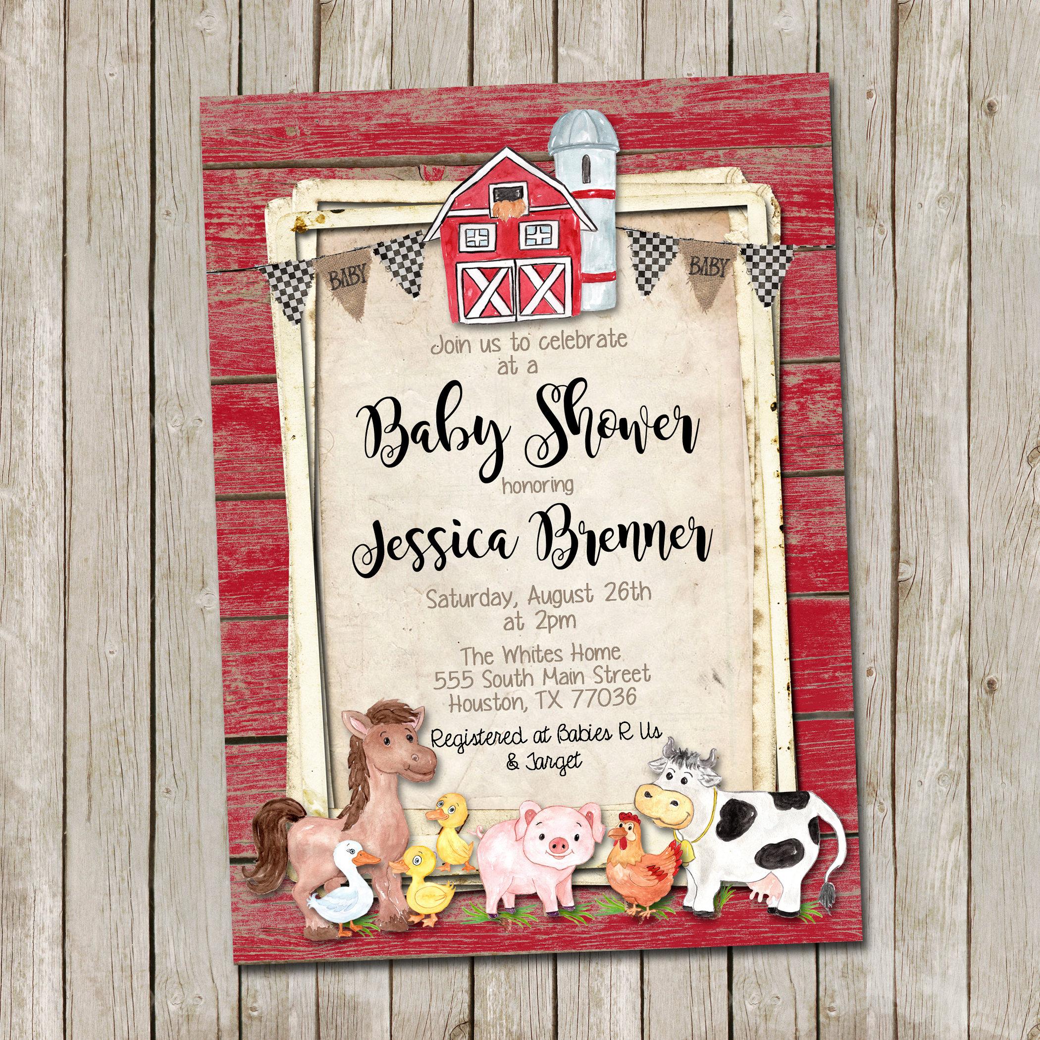 Farm Animals Baby Shower Invitation Rustic Baby Shower