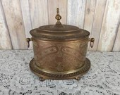 Antique Ornate Embossed Brass Lidded Pot Canister Handles Finial