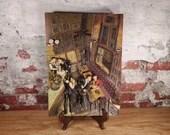 Juarez Machado Vintage Bistro Tavern Scene 3D Relief Art Wall Plaque