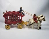 Kenton Cast Iron Overland Circus Bear Cage Wagon Driver Riders Polar Bear