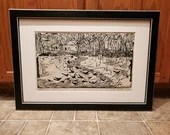 Rare 1959 Rudy Pozzatti Artist Proof Woodblock ED Size 20 Starlings Listed Signed