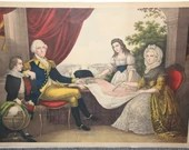 Scarce Proof Chromolithograph Poster George Washington Family Mount Vernon 40 x 28