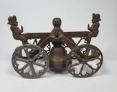 1905 Cast Iron Steel Bell Pull Toy Banana Boys See Saw