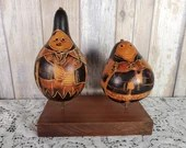 Pair Peruvian Peru Etched Hand Carved Gourd Rattle Folk Art People