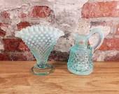 Fenton Ice Blue Opalescent Glass Hobnail Miniature Cruet and Vase