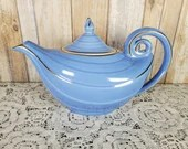 Vintage Hall Pottery China 0666r 6 Cup Aladdin Dresden Blue Teapot Gold