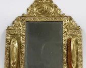Antique German Repousse Brass Vanity Grooming Mirror and Brushes