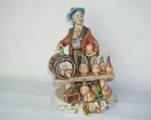 Large Capodimonte Porcelain Street Wine Seller Signed
