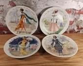 Henri D Arceau Limoges France 4 Porcelain Fashion Plates Les Femmes Du Siècle Certificates