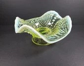 Northwood Argonaut Nautilus Vaseline Opalescent Glass Footed Bowl Compote