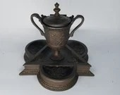 Antique Bronze Neoclassical Urn Inkwell Matchstick Safe Ashtray