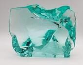 Hovmantorp Sweden R. Strand L. Bornesson Turtle Iceberg Art Glass Block Aqua