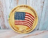 WWII God Bless America United We Stand Patriotic Plaster Plaque