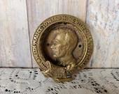 Abraham Lincoln Slavery Abolished 1862 Brass Door Knocker Laurel Wreath