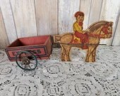 Antique 1920s Gropper Toys Wood Boy Riding Horse Pulling Express Wagon