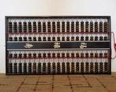 Vtg Daruma Double Abacus Chinese Soroban Japan Wood Wall Hang 22 Inch