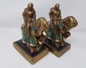 Rare Pompeian Bronze Clad Bookends Knight On War Horse Jousting