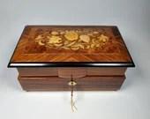 Beautiful Vintage Reuge Inlay Inlaid Jewelry Music Box Tchaikovsky Waltz