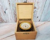 Germany Gimbal Self Leveling Compass in Dovetail Wood Box