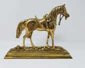 Brass English Style Riding Horse Doorstop Fancy Dressed