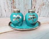 Johann Haviland Teal Turquoise Silver Overlay Porcelain Salt Pepper Plate Set