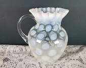 Northwood Fenton French Opalescent Coin Spot Dot Thumbprint Pitcher 6 Inch Jug