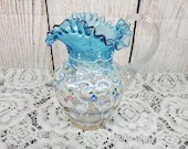 Victorian Glass Blue Clear inverted Coin Enamel Decorated Pitcher