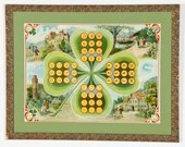 Vintage Framed Shamrock Chromolithograph Game Board