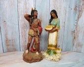 Vintage 1980 HOMCO Native American Indian Statues Brave And Squaw Papoose