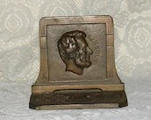 1920s Judd Cast Iron Abraham Lincoln Bronze Bust Profile Bookends