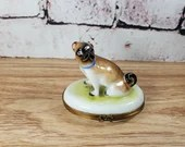 Limoges Peint Main France Pill Trinket Box Dog Pug with Bow