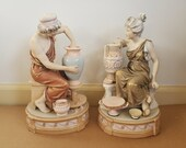 Pair Royal Dux Bohemia Neoclassical Potters 349 and 350 Acorn E Mark