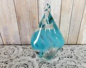 Murano Twisted Flame Glass Blue Colorless Paperweight Bookend Italy